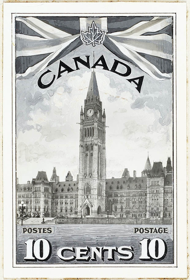 10-cent Parliament Buildings with Union Jack