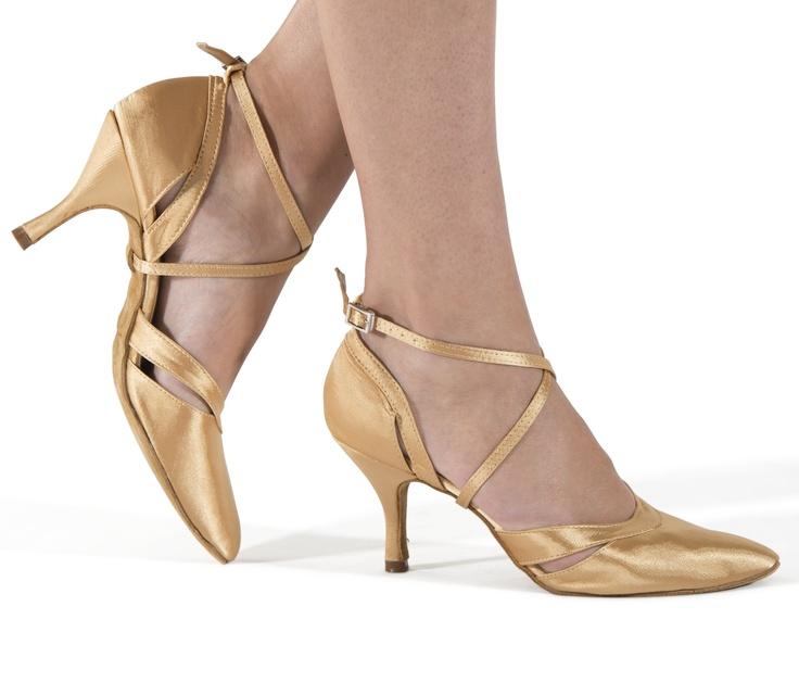 Zapatos de baile de mujer Zapatos de salón de brillo dorado Zapatos de baile latino Criss Cross de punta abierta dorada H9e2F6