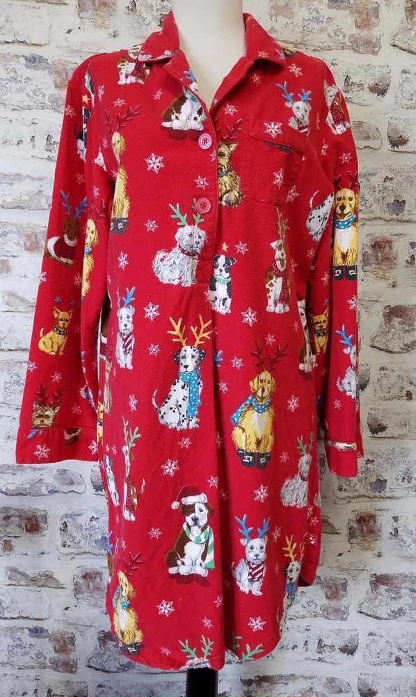 Nick & Nora Pajama Nightgown Sleep Shirt sz M Christmas Reindeer Dog Antlers  #NickNora #Sleepshirt #Everyday