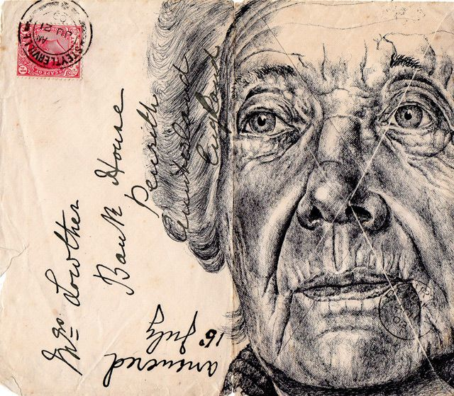 This artist uses dark wrinkles and shading to show aging.