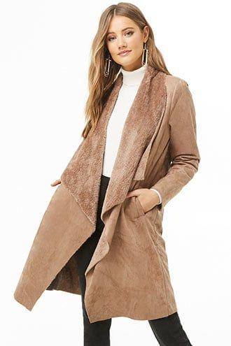 a98f9ea3c79 Drape-Front Faux Suede Jacket   Products   Suede jacket, Jackets ...