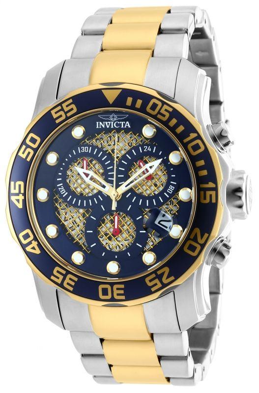 Invicta Pro Diver 90174, carátula en color azul y caja de acero inoxidable.