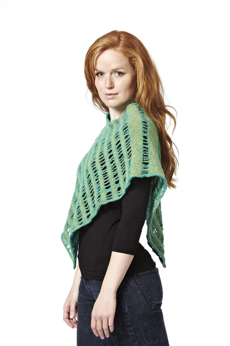 Sonja - poncho. Knitted in wool and felted. The poncho can be worn inside out.