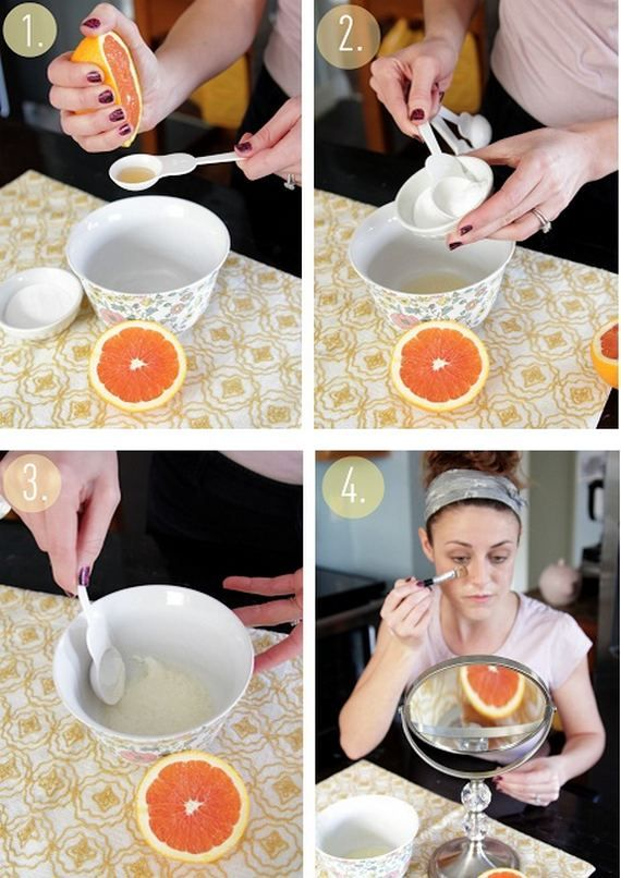 face mask DIY Tips for Beauty Products.  Grapefruit and Baking Soda?.... something to use the extra juice for that is always left on the bottom