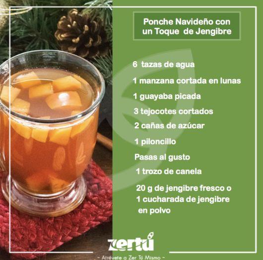 Ponche Navideño con un Toque de Jengibre.  PREPARACIÓN Poner a hervir las 6 tazas de agua junto con el piloncillo, la canela y el jengibre. Hervir aprox. de 10 a 15 min y agregar la caña, la manzana, los tejocotes ( cortados y pelados ) guayaba y las pasas o ciruela pasa Dejar hirviendo a fuego lento por unos 30 minutos más, reposar y disfrutar. #NessZertú #foodie #foodporn #recetas #ayurveda #saludable #felicidad #zen #comesaludable #todonatural #zertumismo #comersano #dietasaludable