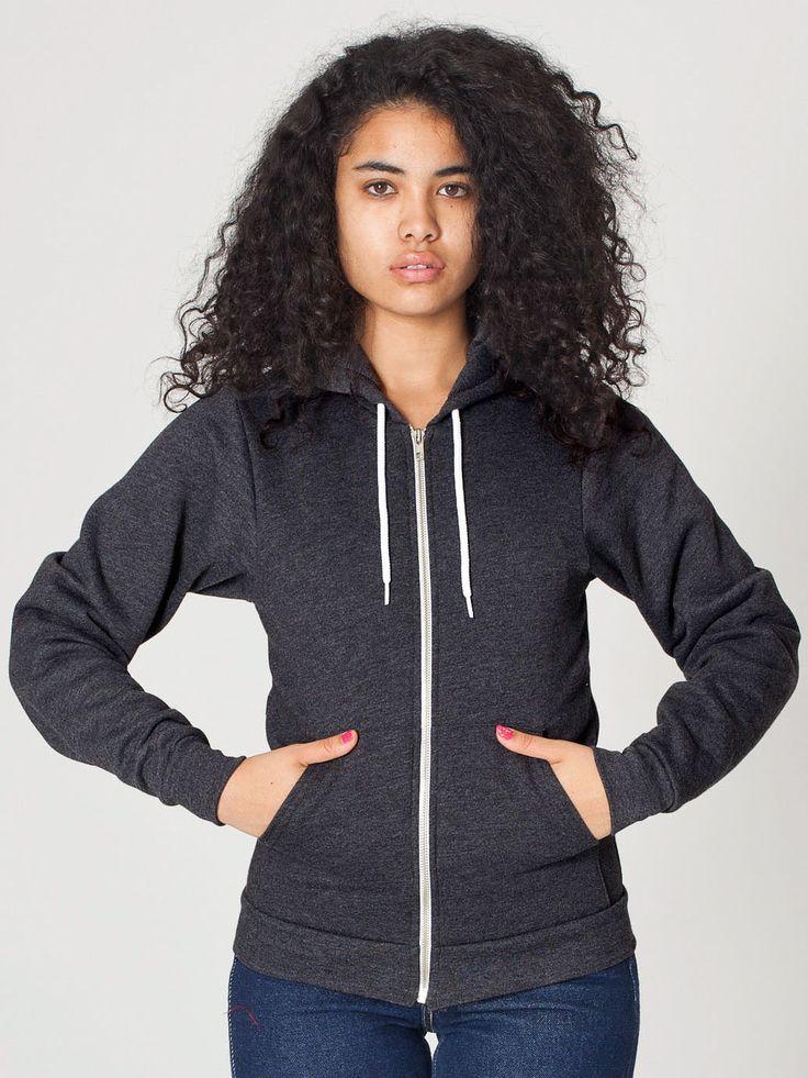 Unisex Flex Fleece Zip Hoodie in Dark Heather Grey