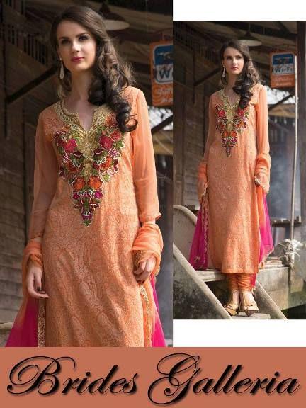 """Latest Indian Pure Chiffon & Georgette Punjabi Suits 2014"""