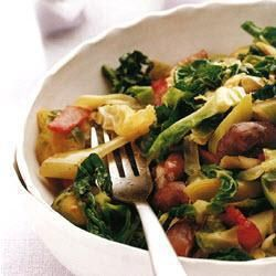 Stir-fried greens with bacon and chestnuts