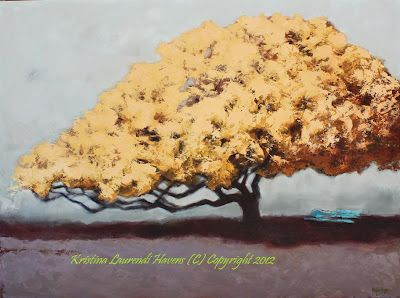 Large, shady yellow tree in Savanah GA inspired this oil painting by Kristina Laurendi Havens