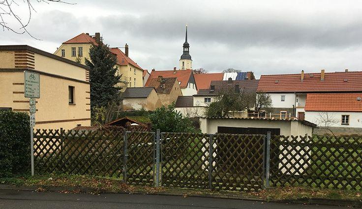 Elsterwerda, Stadtrand vom Elsterdamm aus gesehen