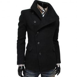 $26.98 Fashion Style Solid Color Turndown Collar Side Single-Breasted Long Sleeves Woolen Coat For Men