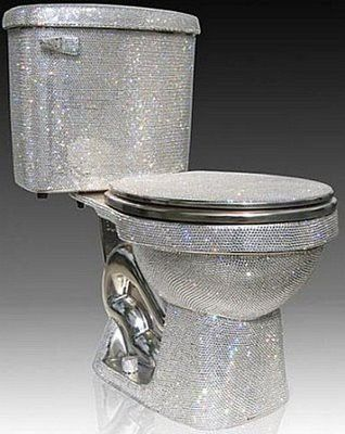 Bling Swarovksi studded toilet~ the seat is smooth stainless steel