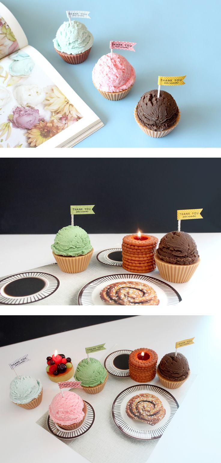 Sweet ice cream cone candles. Enjoy it!  #candle #design #icecream #interior #handmade #atelier #cocomellow #캔들 #캔들공방 #아이스크림 #코코멜로우