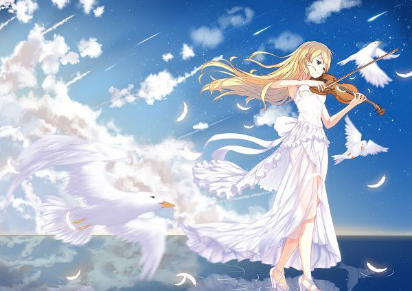 Tags: Anime, Pixiv Id 3063846, Shigatsu wa Kimi no Uso, Miyazono Kaori, Playing Instrument, Violin, Sleeveless Dress