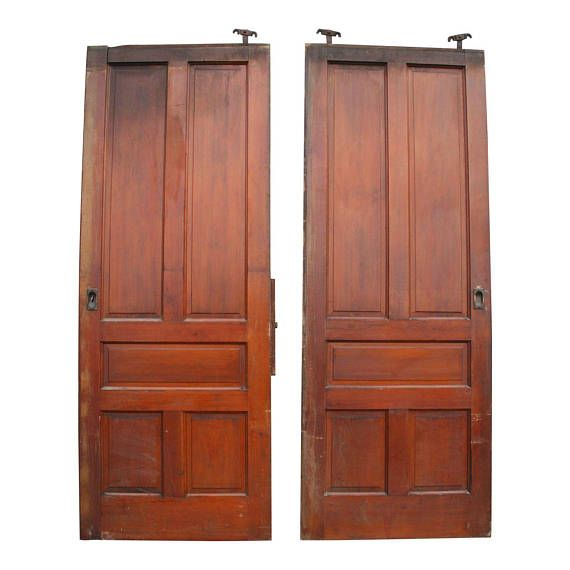 2 Vintage LARGE FRENCH DOORS wood antique pair roller huge architectural salvage barn farm frame wedding solid victorian