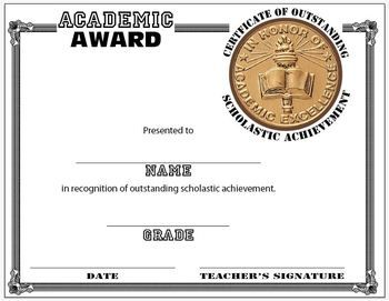 Scholastic Award Certificate Template Education