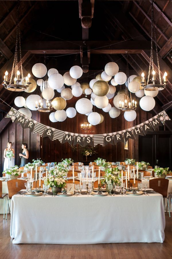 Such a beautiful wedding setting with white and gold paper lantern. Maybe just above the head table and chandeliers everywhere else