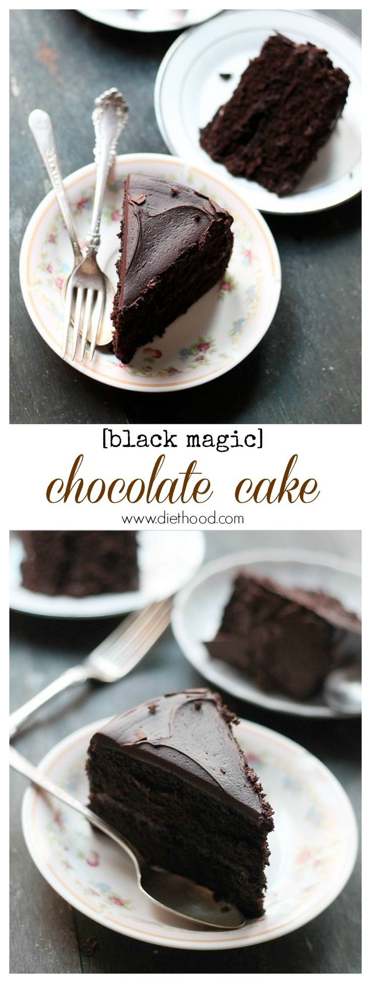 Black Magic Chocolate Cake | www.diethood.com | Moist, rich, and delicious dark chocolate cake perfect for any occasion! | #recipe #chocolate #cake