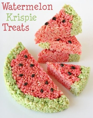 'Watermelon' rice krispie treats!  I think this must be the best flavored watermelon:>)