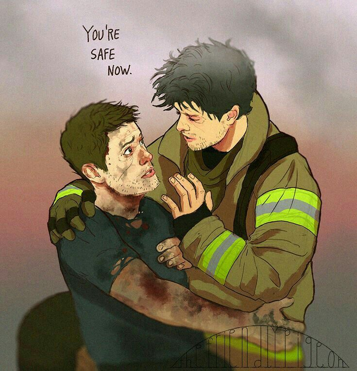 Destiel firefighter but I would imagine Dean being the fireman I'm