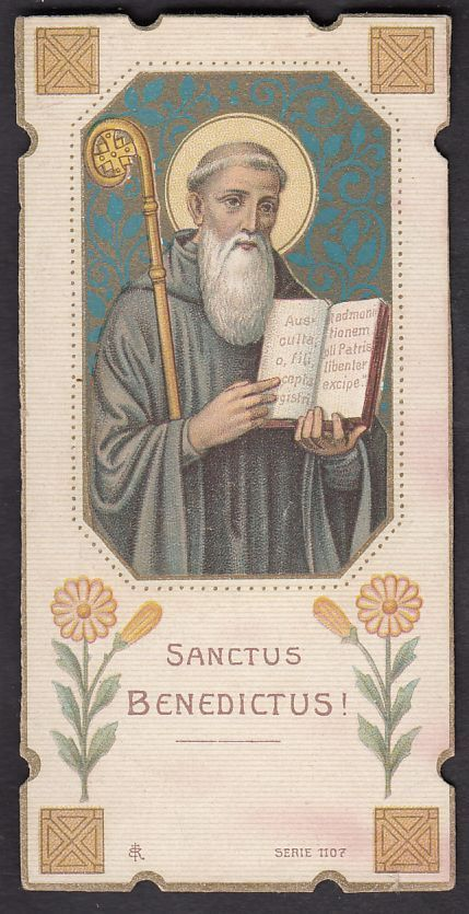 St Benedict antique french  Holy card goldprint