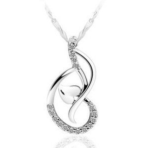 Love Beautiful Heart-Shaped Pendant Necklace Jewelry Wholesale Crystal Heart Pendant Necklace Gift Female Accessories