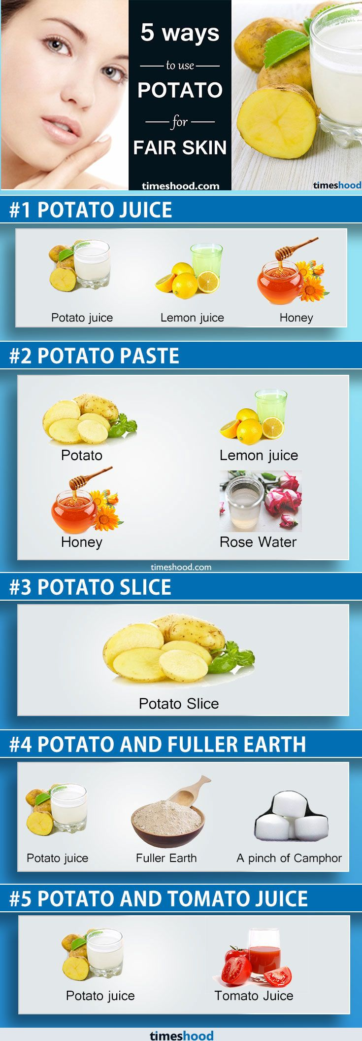 How to get rid of pimples, acne? Use Potato mask for fair skin. Natural remedy to get fair skin. Best skin care remedies. Healthy Home remedies for glowing skin. Check out: https://timeshood.com/get-fair-skin-with-potato/
