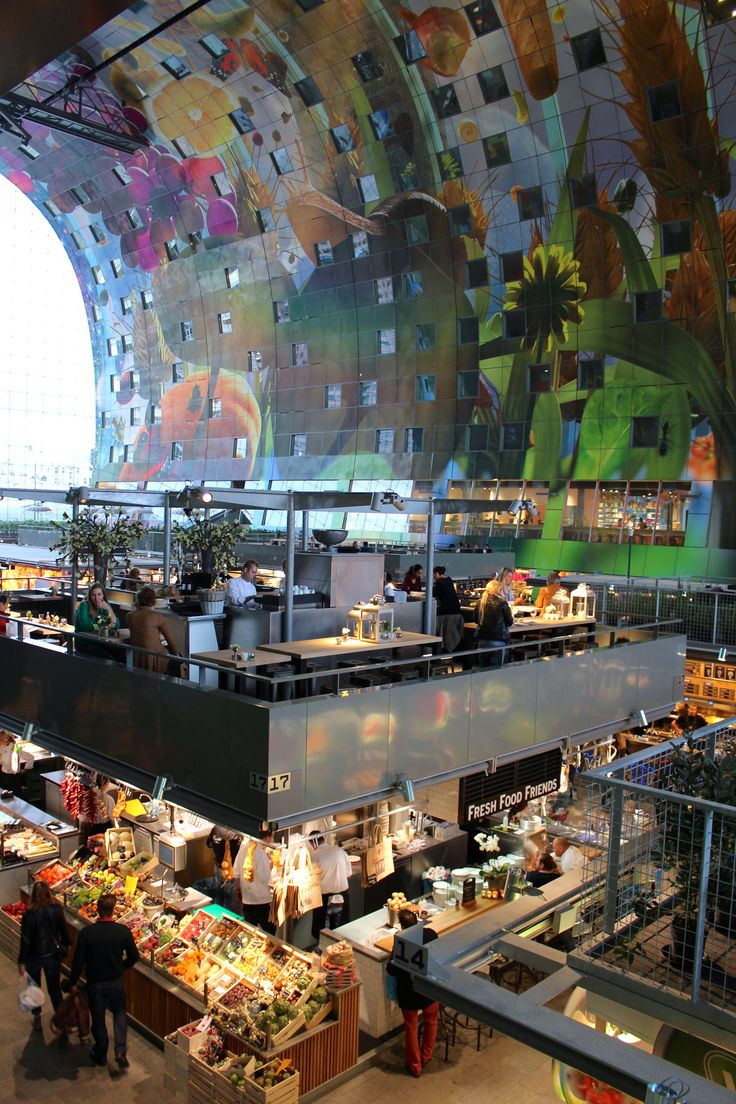 Markthal Rotterdam, Watere-stad, Rotterdam, South Holland_ Netherlands | The Market Hall is a sustainable combination of food, leisure, living and parking, fully integrated to celebrate and enhance the synergetic possibilities of the different functions. During the day it serves as central market hall, after hours the hall becomes an enormous, covered, well lit public space.