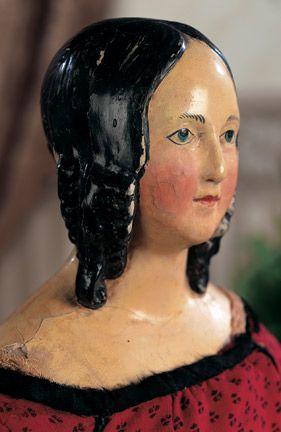 "Large Early German Paper Mache Lady - 25"" (63 cm.) Paper mache shoulder head of…"