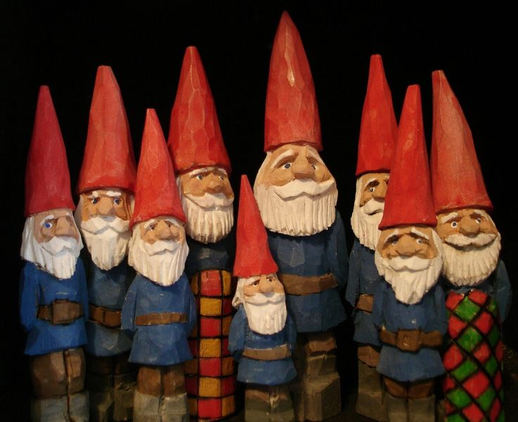 wood carved gnomes