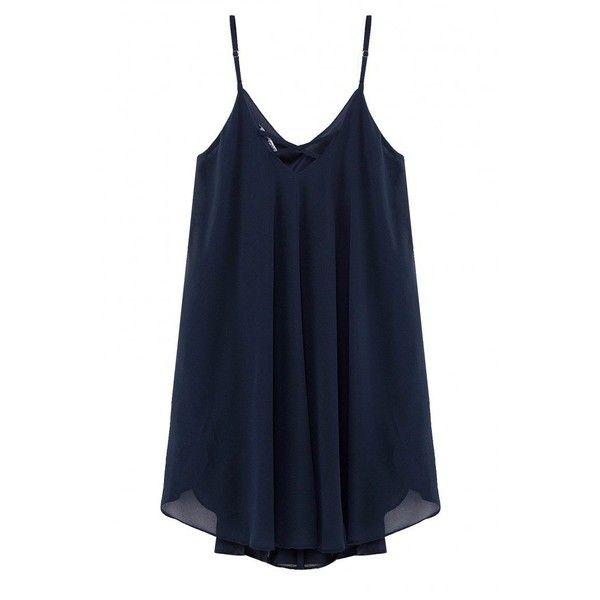 Yoins Navy Cami Swing Chiffon Dress ($23) ❤ liked on Polyvore featuring dresses, shirts, navy, blue v neck dress, v neck cami, spaghetti strap dress, v neck dress and chiffon dress