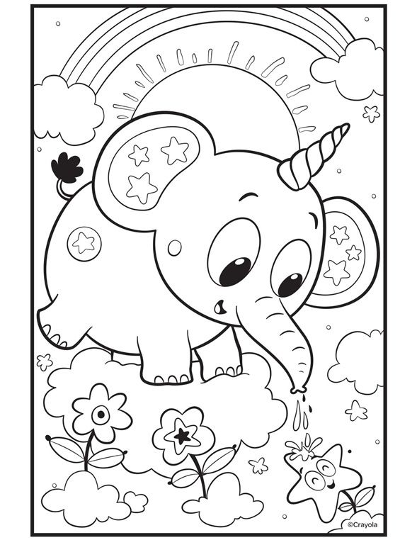 Color Our Free Unicorn Coloring Page Which Is Also An Elephant Coloring Page Download The Pr Unicorn Coloring Pages Free Coloring Pages Elephant Coloring Page