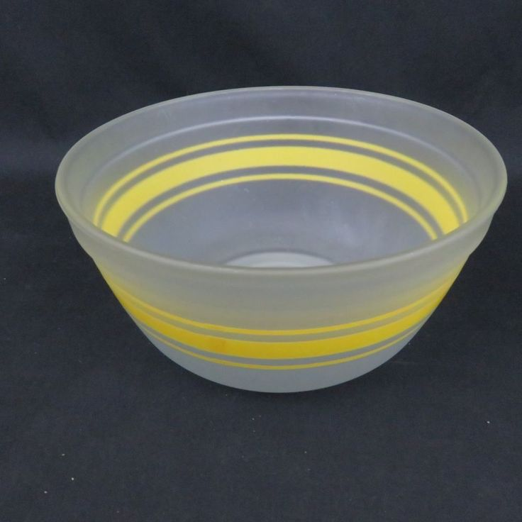 Anchor Hocking Yellow Stripe Frosted Glass Mixing Bowl 1.5