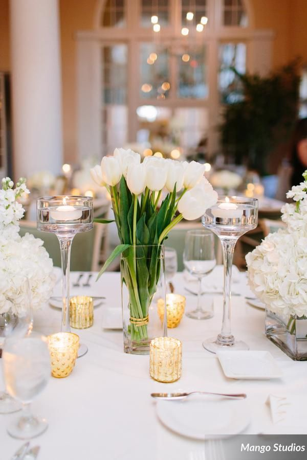 garden wedding white tulip centerpiece mountain lake mango studios lee james floral