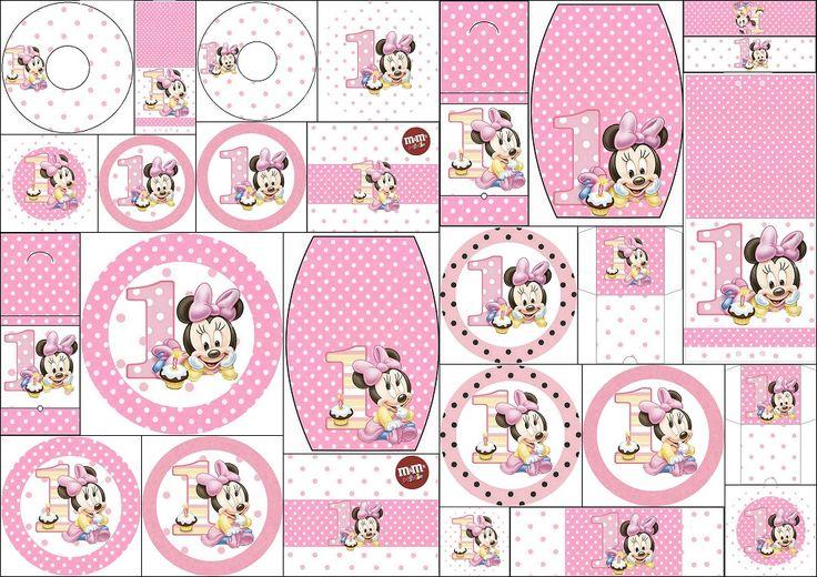Minnie Primer Año con Lunares: Etiquetas para Candy Bar para Imprimir Gratis. | Oh My Bebé!