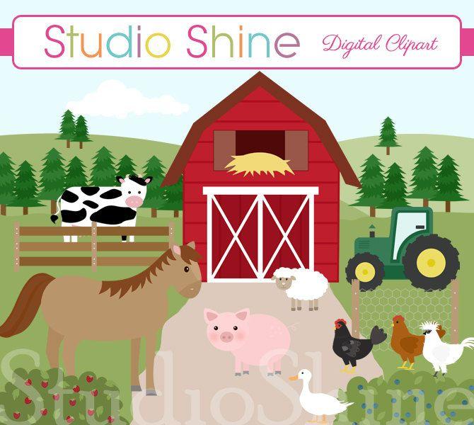 Farm Clipart - Farm Friends - Cute farmyard barnyard clip ... Clip Art Pictures Of Farm Houses