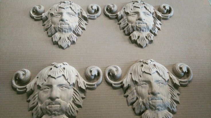 Neptun carved onlays. #neptun #poseidon #face #onlay #relief #carvings #sculpture