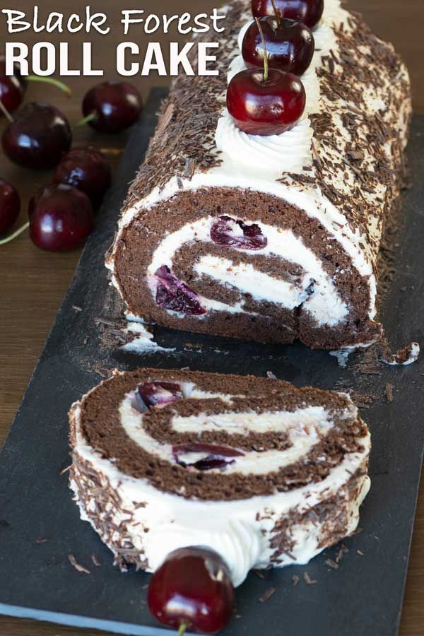 Black Forest Roll Cake Recipe With Images Roll Cake Cake Roll Recipes Chocolate Roll Cake