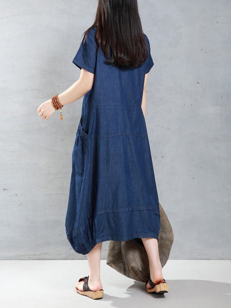 Casual Women Loose Short Sleeve Pockets Denim Lantern Dress - NewChic