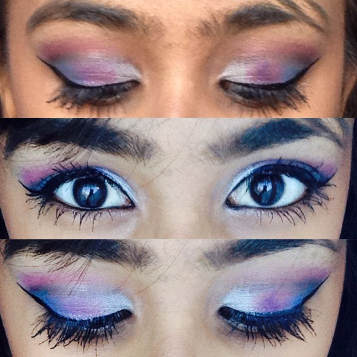 Silver, purple, blue, black and pink. Odd combination but it looked awesome. Lets not forget that winged liner -Zakiyah Bhadella