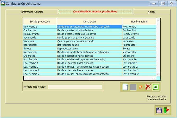 Configuración de estados productivos
