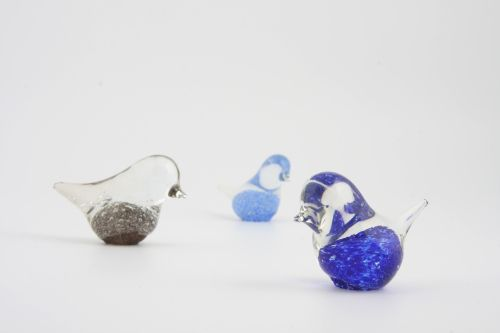 Blue glass birds - Benny Motzfeldt, Randsfjord Glassverk, Norway, 1967-68