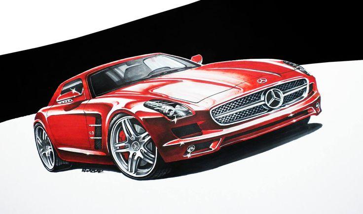 Mercedes SLS AMG Markers 50x35cm 2010y  Nikodem Sabak