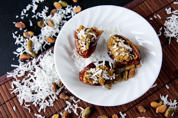 coconut-pistachio stuffed dates