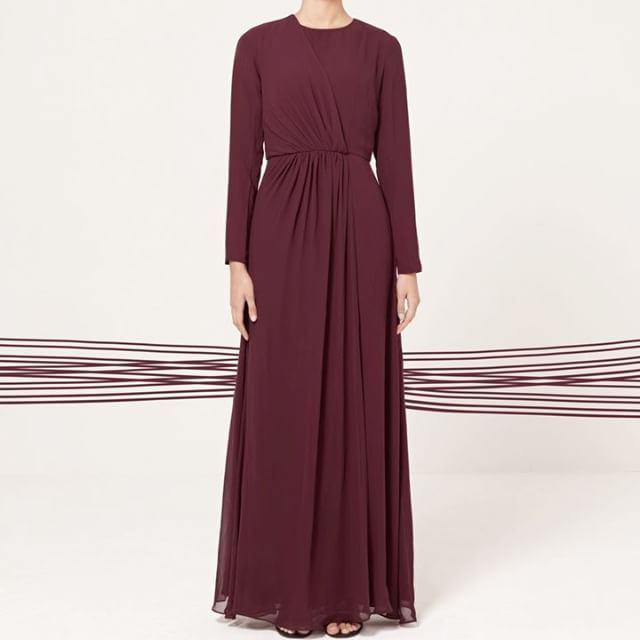 INAYAH   New In   An elegant gown softly gathered to create beautiful draping detail. Can be styled with or without its belt.  Dark Maroon Drape Gown  www.inayah.co