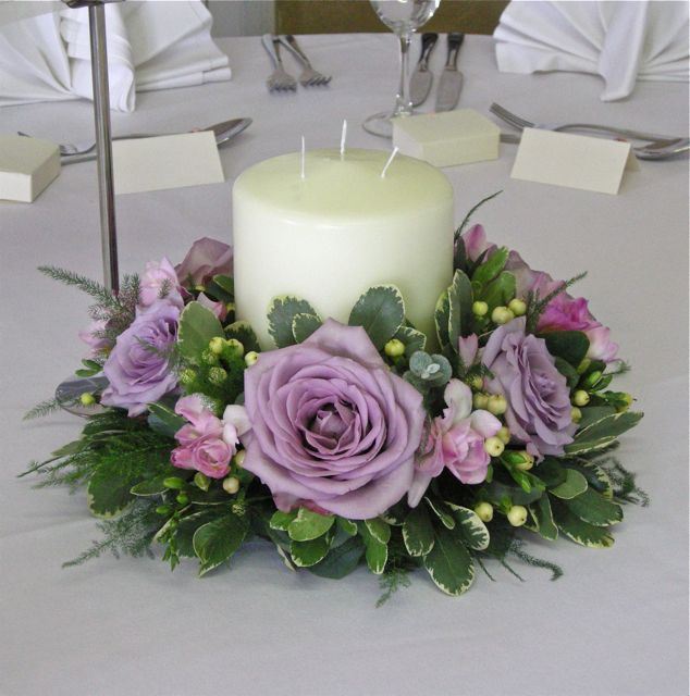 Wreath Flower Arrangements | Low table centre in vintage pinks and mauves using roses, freesias ...                                                                                                                                                                                 Más