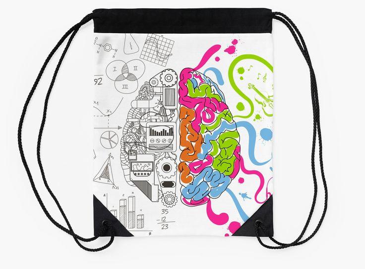 Nerdy Brain Creativity Design by Gordon White | RedBubble Black and White Drawstring Bag Flat Available @redbubble