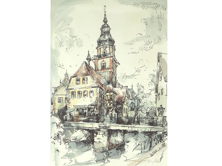 'Erbach, Odenwald, Germany' - original signed  & framed pen & watercolour by 20th Century European Artist. Notes to rear about history of painting. #art #artgallery #erbach #germany #german #artlover #artforsaleonline #paintings #artcollector #landscape #watercolour #watercolor #artforsale #forsale #buyart #watercolorpaintings #fineart