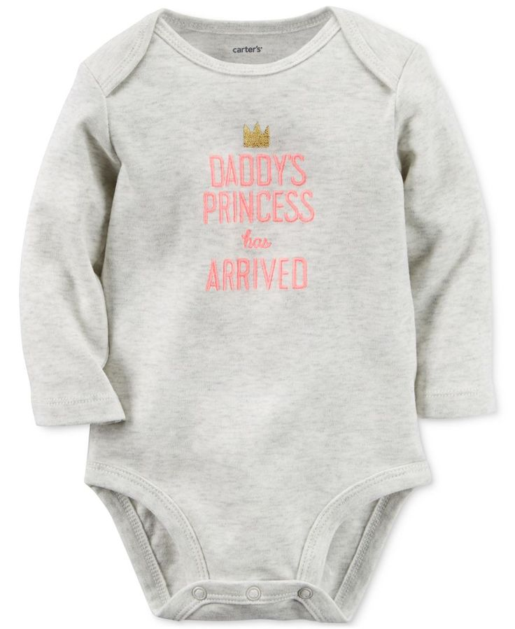 Carter's lends some sweetness to her casual wardrobe with this long-sleeve bodysuit, featuring a royally-cute graphic print. | Cotton | Machine washable | Imported | Crew neck | Lap shoulders | Long s