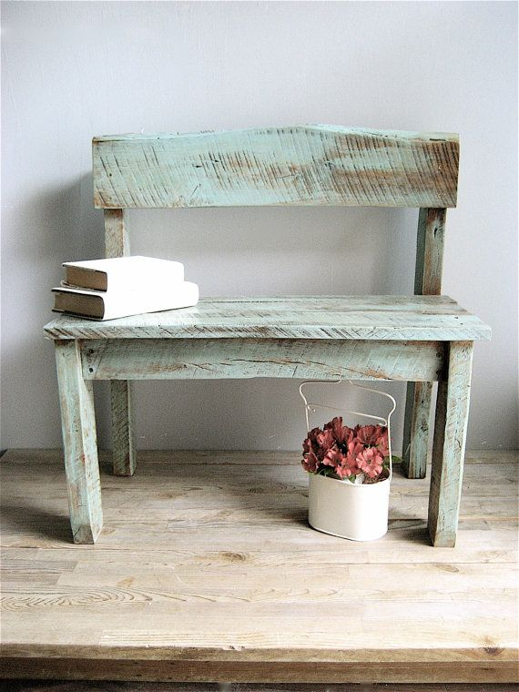 I like the paint finish on this - Vintage Reclaimed Wood Bench